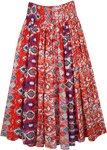 Bulgarian Red Cotton Voile Skirt with Smocked Waist