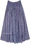 Dense Blue Printed Cotton Voile Skirt with Smocked Waist