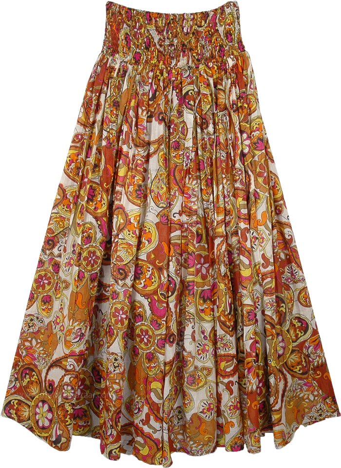 Smocked Waist Flared Cotton Voile Skirt with Paisley Print