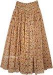 Sandstone Floral Boho Cotton Skirt with Smocked Waist