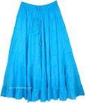 Strobe Blue Full Tiered Cotton Long Skirt