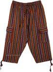 Mustard Light Cotton Capri Pants with Pockets