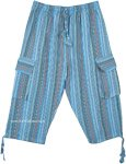 Blue Boho Striped Cotton Half Trousers with Pockets