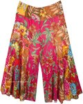 Magenta Blossoming Flowers Flared Cotton Pants
