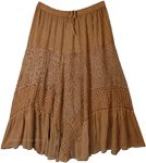 Latte Brown Western Skirt with Lace Work Tiers