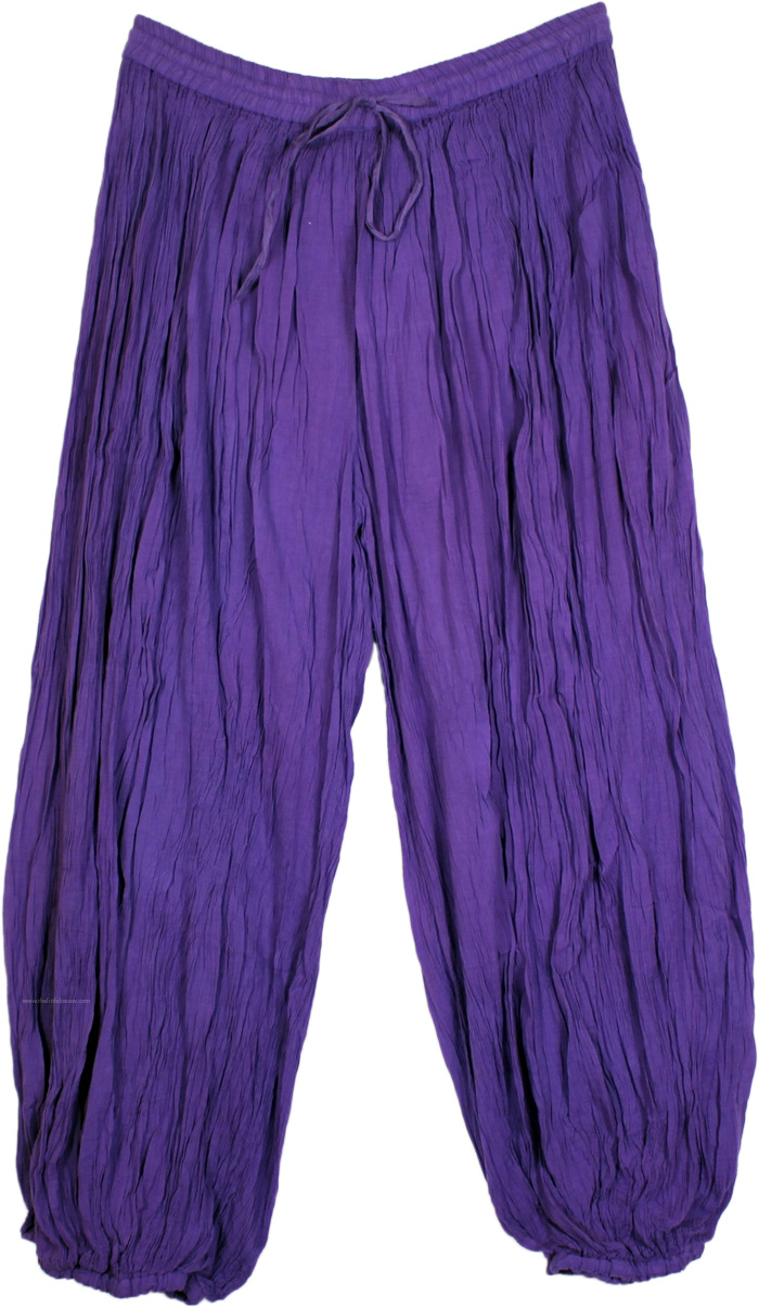 Eggplant Purple Crinkled Boho Cotton Harem Pants