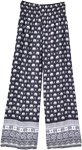 Black Palazzo Beach Pants Elephant Print Smocked Waist