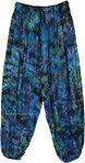Blue Harem Crinkle Tie Dye Pants with Floral Print