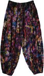 Purple Tie Dye Floral Print Crinkled Harem Pants