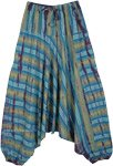 Blue Lagoon Cotton Striped Tie Dye Aladdin Pants