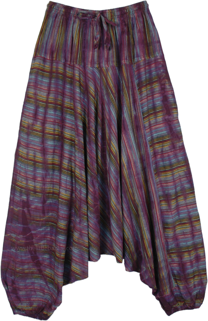Woven Cotton Purple Striped Aladdin Pants with Pockets