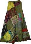 Las Palmas Green Long Wrap Skirt with Patchwork