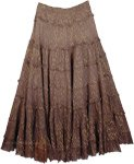 Ombre Brown Lurex Tiered Skirt with Golden Thread