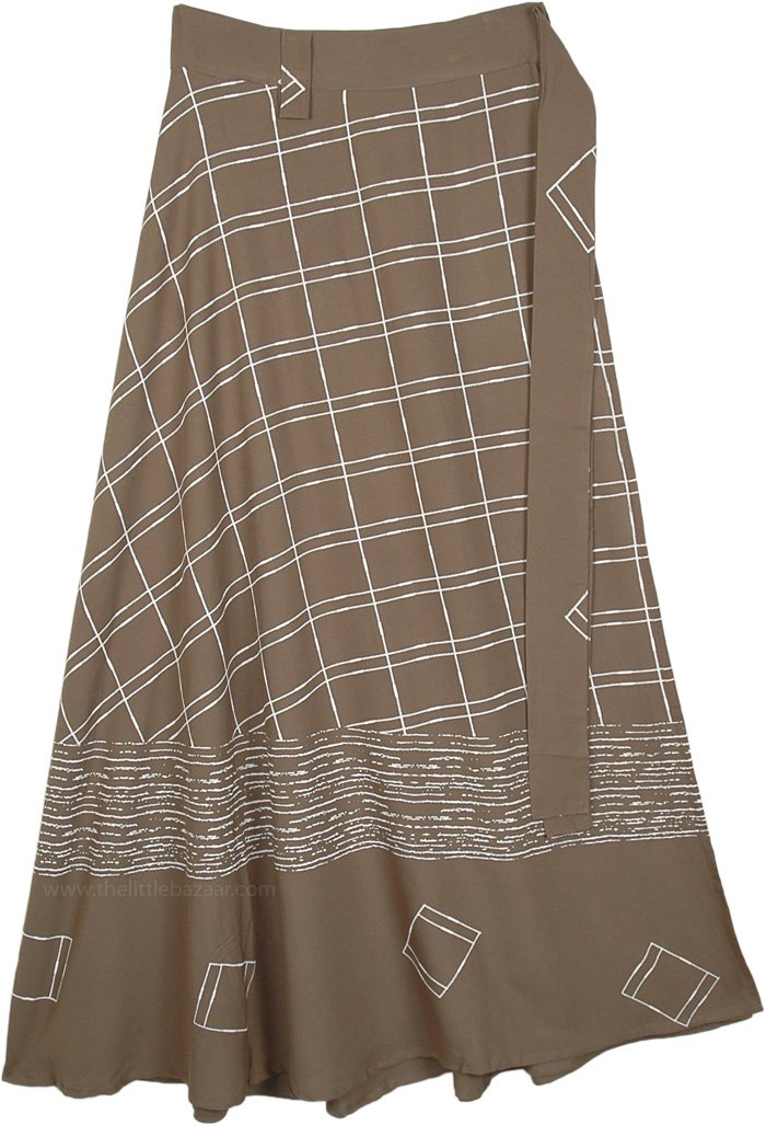 Roman Coffee Brown Rayon Long Bell Wrap Skirt