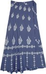 Blue Bayoux Soft Rayon Printed Long Wrap Skirt