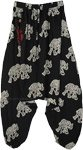 Elephant Print Unisex Harem Black Pants with Front Pocket