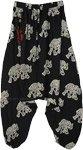 Elephant Print Unisex Harem Black Pants with Front Pocket