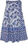 Hydrangea Blue Floral Bohemian Wrap Around Skirt
