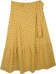 Deep Turmeric Yellow Plus Size Long Wrap Around Skirt