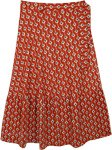 Plus Size Tomatina Red Printed Wrap Around Long Skirt