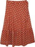Plus Size Tomatina Red Printed Wrap Around Long Skirt