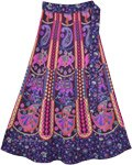 Traditional Printed Vibrant Cotton Wrap Midi Skirt