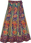 Traditional Printed Midi Length Cotton Wrap Skirt