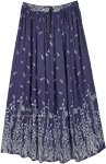 East Bay Blue Leaf Printed Rayon Long Skirt