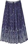 East Bay Blue Leaf Printed Rayon Long Skirt
