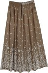 Printed Leaf Rayon Crepe Long Skirt in Olive Green