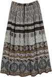 Muddy Brown Ethnic Printed Long Gypsy Skirt