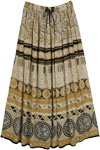 Spiked Mustard Tribal Print Long Boho Skirt