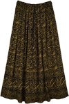 Golden Yellow Floral Elastic Waist Pull Up Style Long Skirt