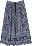 Navy Blue Paisley Printed Long Gypsy Skirt