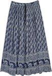 Navy Blue Paisley Printed Long Gypsy Skirt
