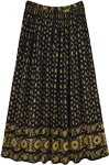 Noir and Mustard Printed Crushed Rayon Casual Skirt