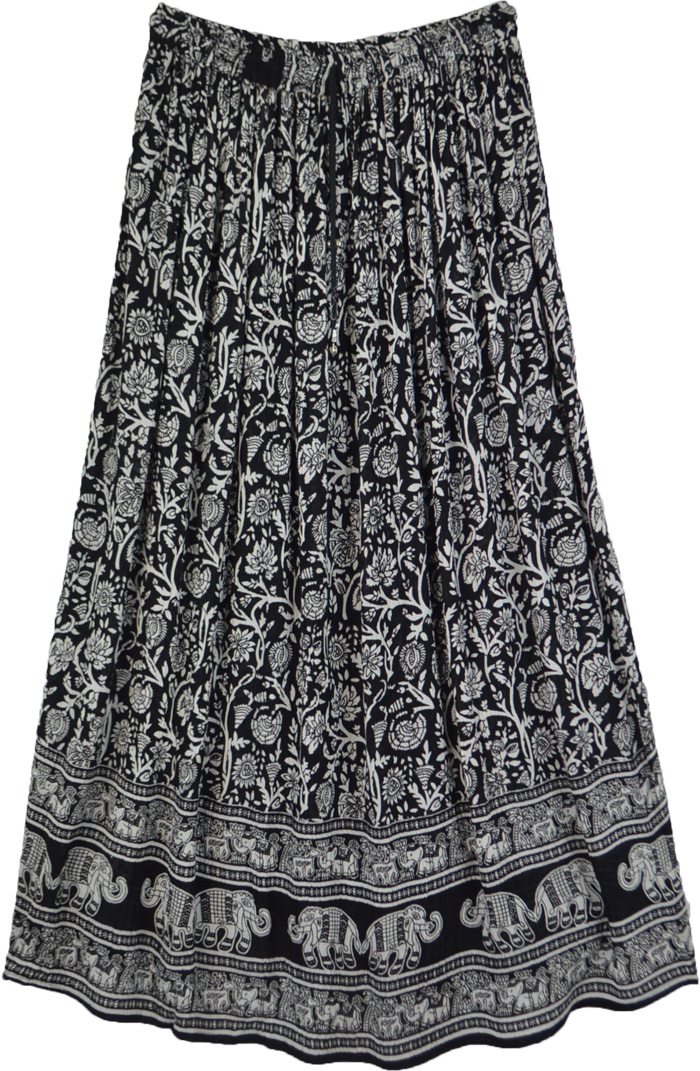 Dark ink and Pearl Printed Gypsy Skirt