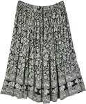 Plus Size Rayon Long Skirt with Floral and Elephant Print