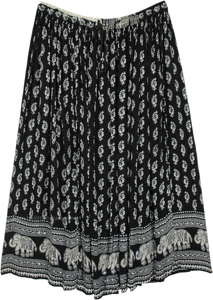 Plus Size Ethnic Printed Black Gypsy Skirt with Sequins
