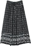Paisley Floral Printed Black Skirt with Soft Sequins Accents
