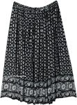 Plus Sized Paisley Printed Black Skirt with Sequins