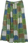 Natural Vibe Green Boho Hippie Rayon Long Skirt