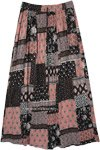 Pink Black Floral Boho Rayon Long Skirt