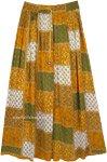 Harvest Hues Floral Rayon Boho Long Skirt