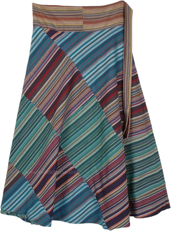 Patchwork Green Blue Striped Wrap Skirt in Woven Cotton