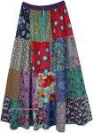 Hippie Garden Floral Patchwork Long Skirt in Cotton