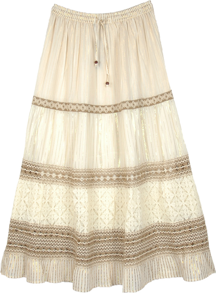 The Cleopatra Antique White Festive Skirt with Lace