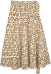 Summer Flowers Printed Cotton Midi Wrap Skirt in Ivory