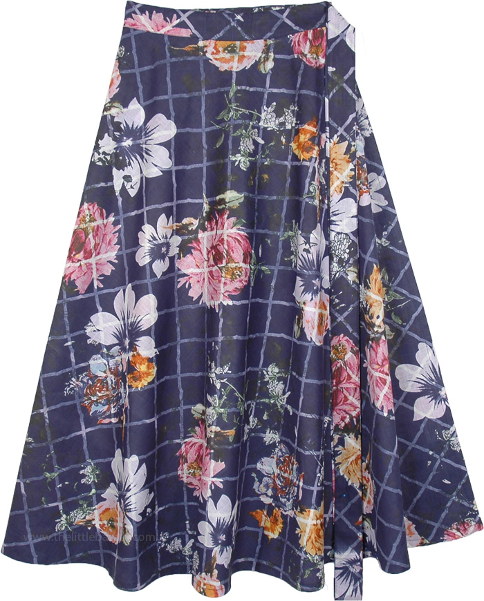 Floral Printed Kashmir Blue Cotton Wrap Around Skirt
