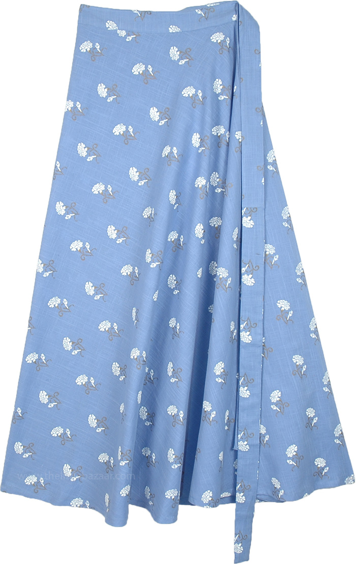 Malibu Blue Cotton Wrap Around Skirt with Floral Print
